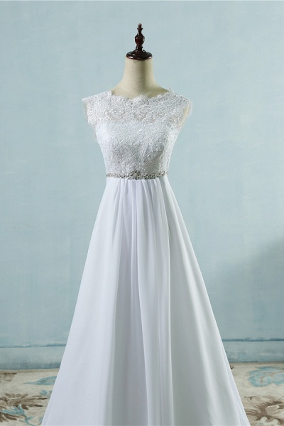 Chic A-line Lace Chiffon Floor Length Wedding Dress_5