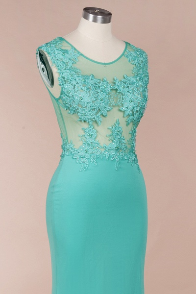 Lace appliques Mint Green Round Neck Cap sleeve Prom Dress_6