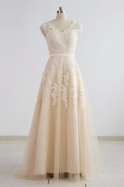 Chic V-neck Appliques A-line Tulle Wedding Dress_2
