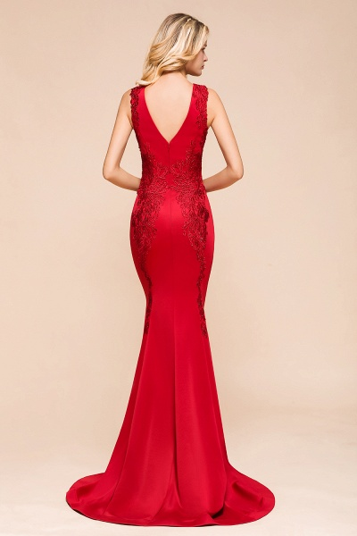 Stunning V-neck Lace Appliques Mermaid Prom Dress_3