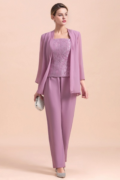 Elegant Lace Cap Sleeves Chiffon Mother of Bride Jumpsuit With Wrap_6
