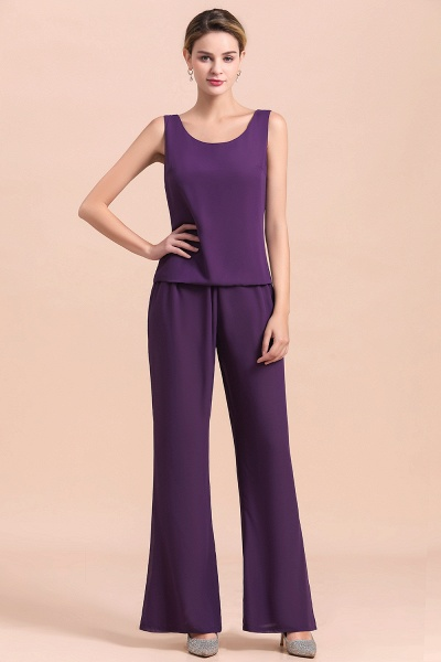 Straps Beading Grape Chiffon Long Sleeve Mother of Bride Jumpsuit With Wrap_12