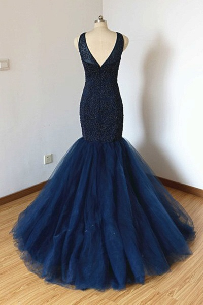 Navy Blue Tulle Long Trumpet Formal Prom Dress With Applique_2