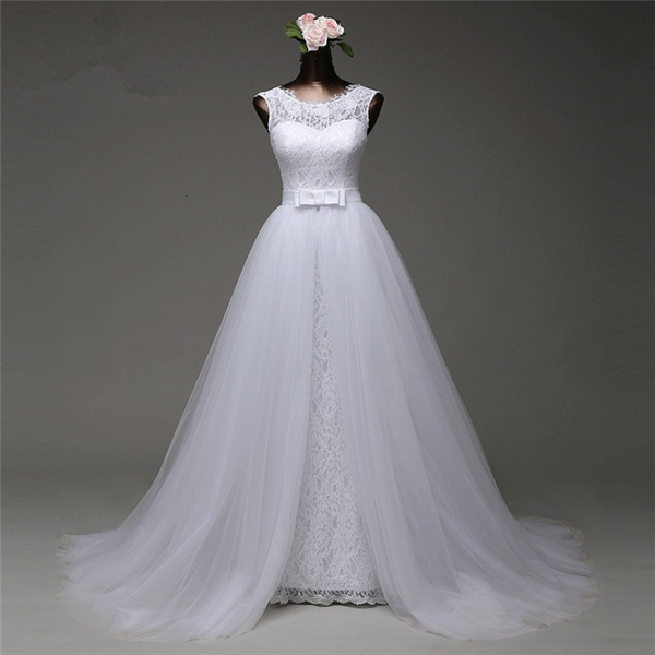 Chic Long Jewel Lace Wedding Dress With Overskirt_3