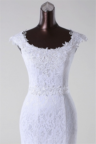 Gorgeous Long Lace Jewel Mermaid Lace-up Wedding Dress with Appliques_5