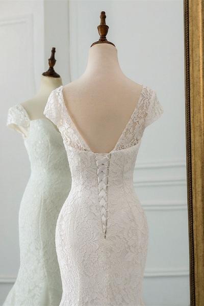 Elegant Long Mermaid Sweetheart Lace Wedding Dress with Cap-Sleeves_6
