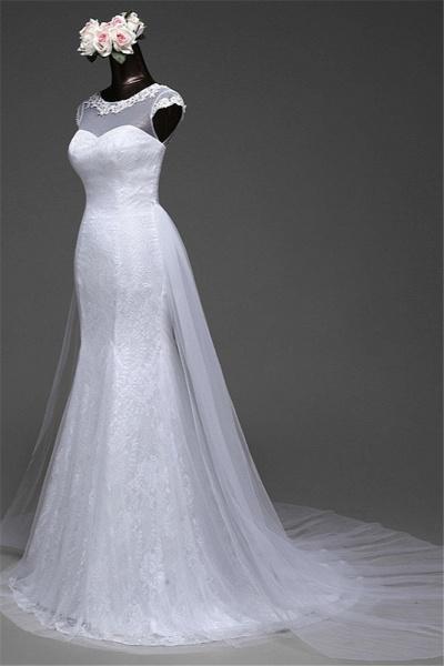 Glamorous Long Mermaid Jewel Lace Wedding Dress with Tulle Overskirt_6