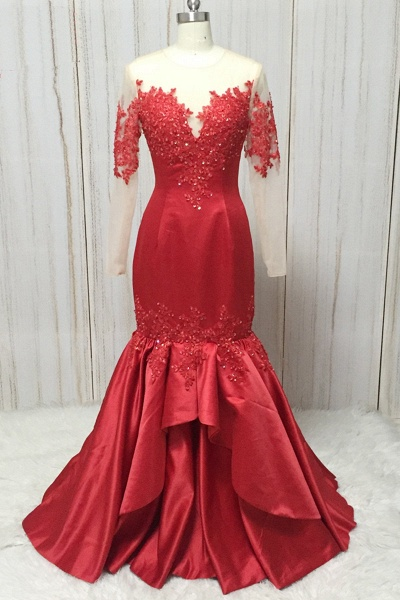 Red Satin Round Neck Long Mermaid Lace Prom Dress With Long Sleeve