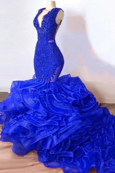 Royal Blue Mermaid Long Ruffles Prom Dresses_1
