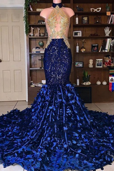 Royal Blue Mermaid African Sexy Beaded See Through Prom Dress_1