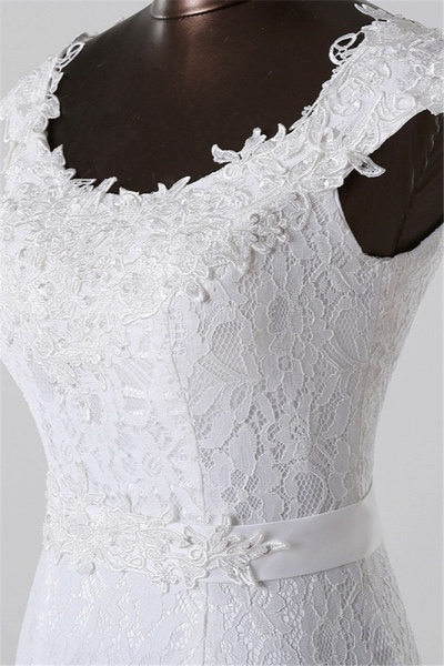 Gorgeous Long Lace Jewel Mermaid Lace-up Wedding Dress with Appliques_4