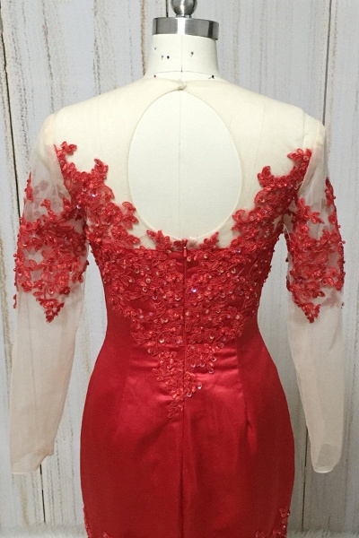 Red Satin Round Neck Long Mermaid Lace Prom Dress With Long Sleeve_4