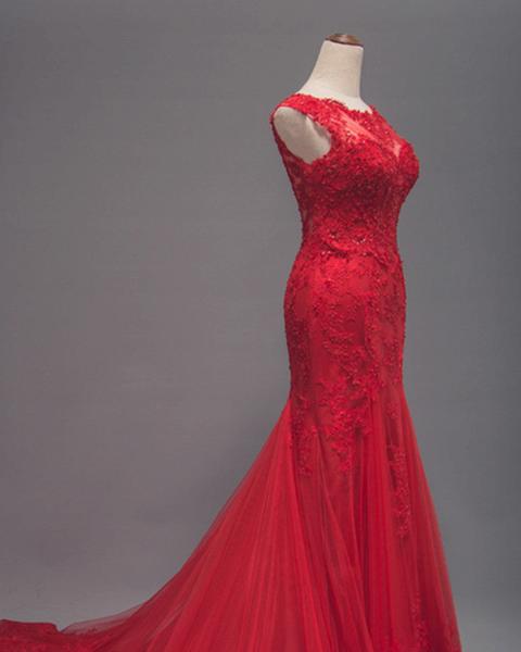 Red Lace Long Train Mermaid Cap Sleeve Prom Dress_2