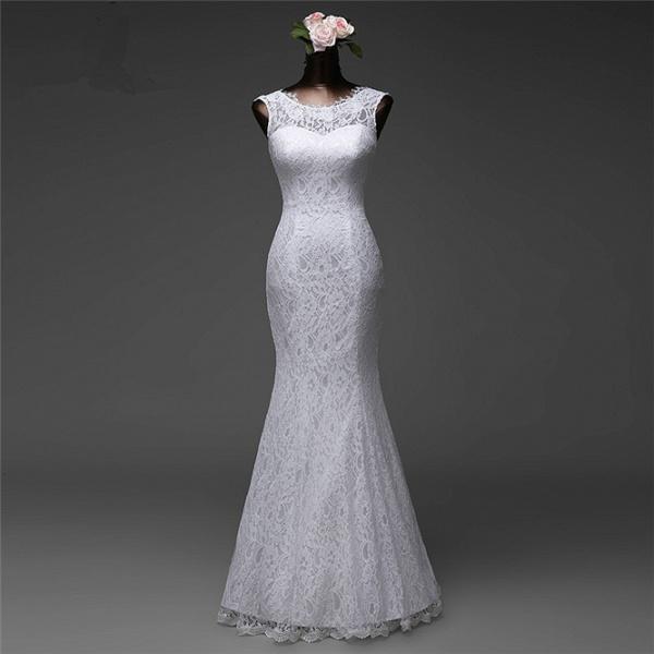 Affordable Long Jewel Floor-length Mermaid Lace Wedding Dress_3