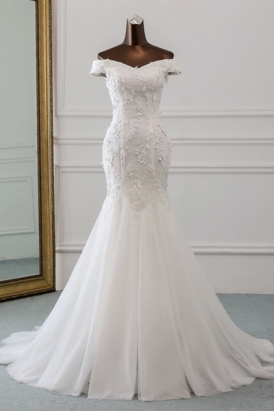 Gorgeous Long Tulle Off-the-shoulder Mermaid Lace-up Wedding Dress