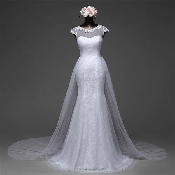 Glamorous Long Mermaid Jewel Lace Wedding Dress with Tulle Overskirt_9