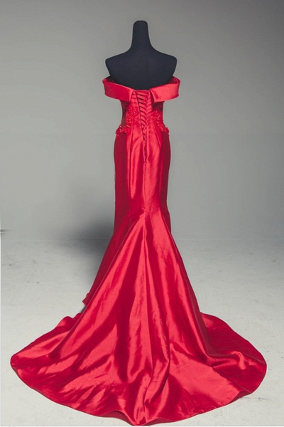 Red Satin Strapless Lone Mermaid Prom Dress With Sleeve_2