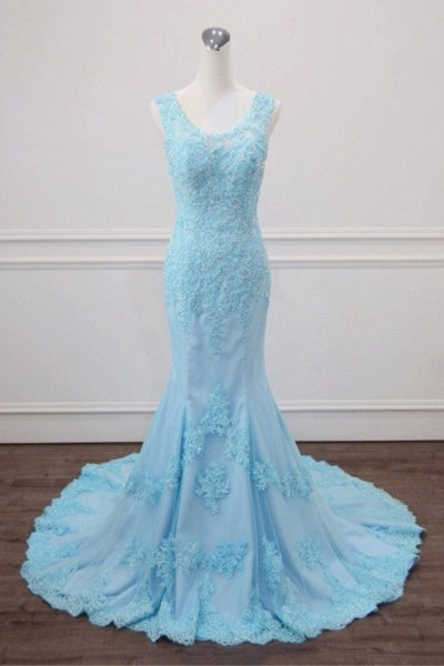 Light Blue Lace Beaded Mermaid Appliques Senior Prom Dress