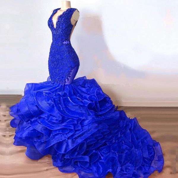 Royal Blue Mermaid Long Ruffles Prom Dresses_2