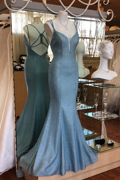 Light Blue Open Back Long Mermaid Dress Women Prom Dress