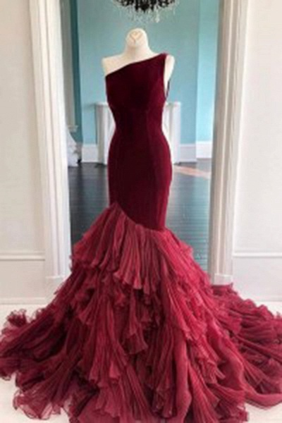 Burgundy Tulle Velvet Long Mermaid Dress Formal Prom Dress