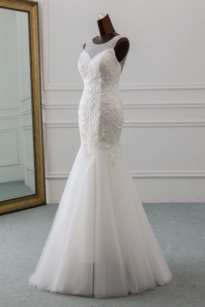 Popular Long Mermaid Jewel Tulle Backless Wedding Dress with Lace_3
