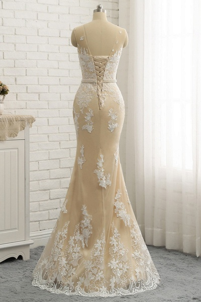 Nude Tulle Round Neck Lace Long Mermaid Pearl Prom Dress_2