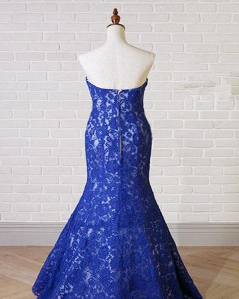 Sweetheart Neck Royal Blue Lace Long Mermaid Prom Dress_2