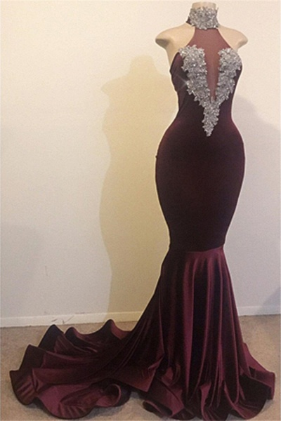 High Neck Backless Brush Train Mermaid Sequins Prom Dress