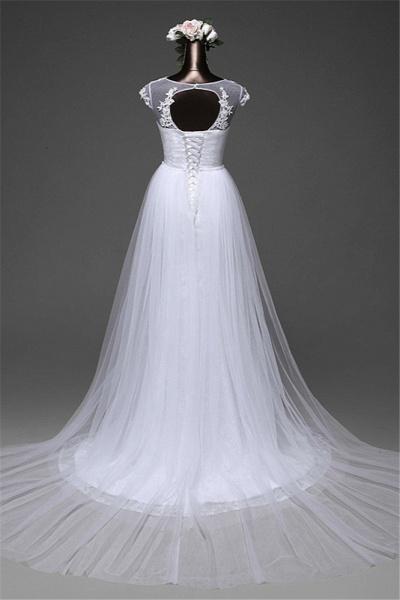 Glamorous Long Mermaid Jewel Lace Wedding Dress with Tulle Overskirt_4