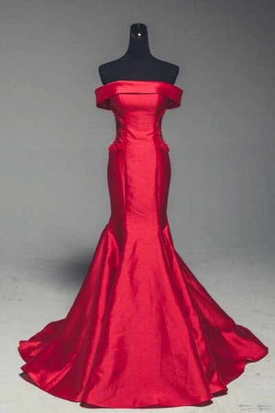 Red Satin Strapless Lone Mermaid Prom Dress With Sleeve