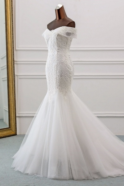 Long Mermaid Tulle Lace Off-the-Shoulder Lace-up Wedding Dress_3