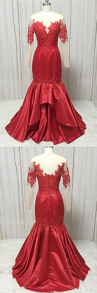 Red Satin Round Neck Long Mermaid Lace Prom Dress With Long Sleeve_5