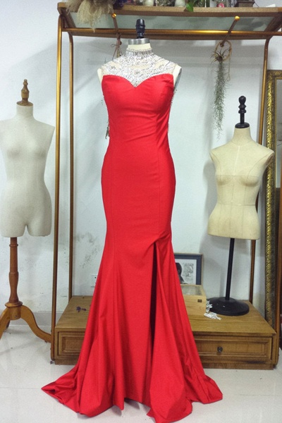 Backless Red with Crystals Sparkling Pageant Dresses Prom Dress_1