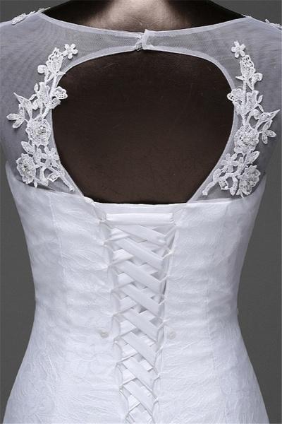 Glamorous Long Mermaid Jewel Lace Wedding Dress with Tulle Overskirt_8