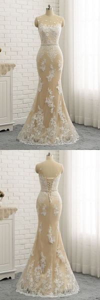 Nude Tulle Round Neck Lace Long Mermaid Pearl Prom Dress_3