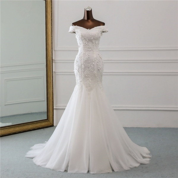 Gorgeous Long Tulle Off-the-shoulder Mermaid Lace-up Wedding Dress_7