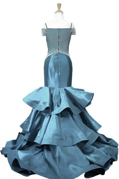 Blue Satin V Neck Spaghetti Long Layered Mermaid Prom Dress_2