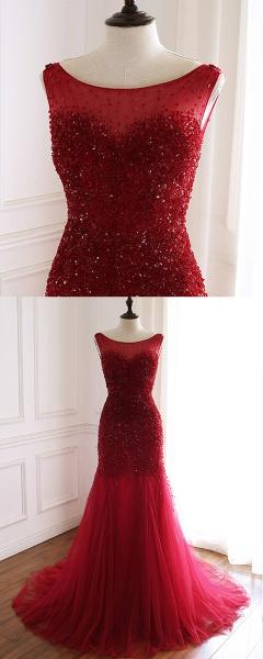 Burgundy Tulle Open Back Beaded Long Mermaid Prom Dress_4
