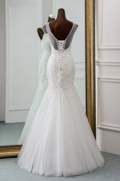 Popular Long Mermaid Jewel Tulle Backless Wedding Dress with Lace_2