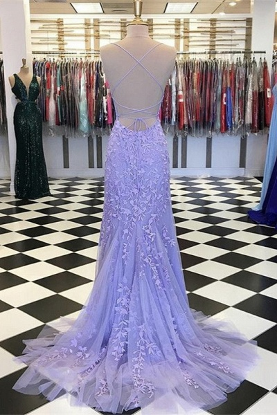 Mermaid Light Blue Prom Dress with Appliques Prom Dress_14