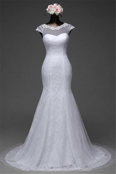 Glamorous Long Mermaid Jewel Lace Wedding Dress with Tulle Overskirt