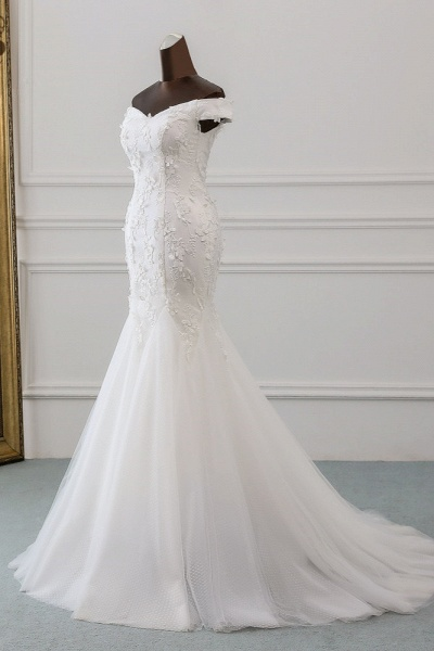 Gorgeous Long Tulle Off-the-shoulder Mermaid Lace-up Wedding Dress_3