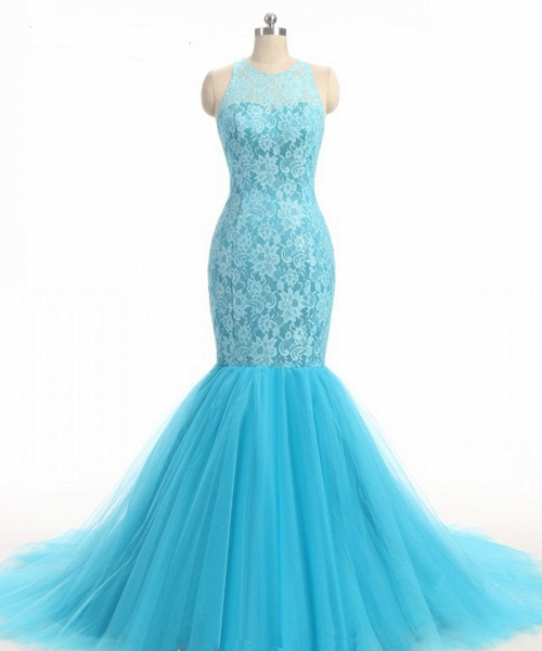 Baby Blue Lace O Neck Long Mermaid Prom Dress_3