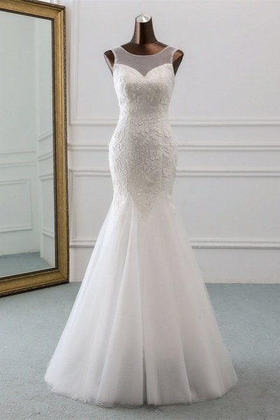 Popular Long Mermaid Jewel Tulle Backless Wedding Dress with Lace