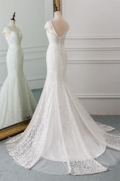 Elegant Long Mermaid Sweetheart Lace Wedding Dress with Cap-Sleeves_4