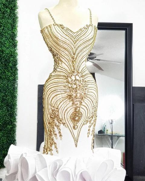 White Mermaid Gold Beading Plus Size Prom Dresses_4