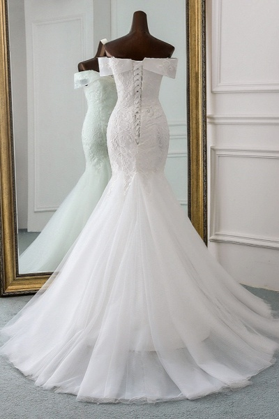 Long Mermaid Tulle Lace Off-the-Shoulder Lace-up Wedding Dress_2