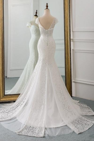 Elegant Long Mermaid Sweetheart Lace Wedding Dress with Cap-Sleeves_2