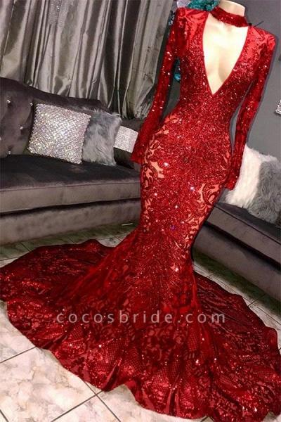 Marvelous High Neck Long Sleeves Mermaid Prom Dress_1